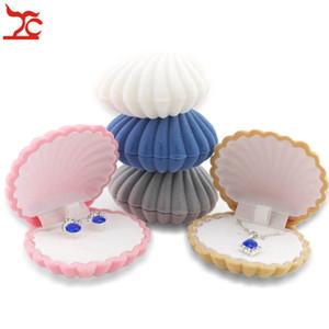 100pcs populaire Bijoux Couleurs mixtes boîte-cadeau Sea Shell forme Boîte à bijoux Boucles d'oreilles anneau collier pendentif Boîtes de rangement Livraison gratuite
