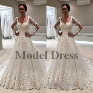 Ilusión manga larga vestidos de novia una línea de encaje apliques Tulle Square elegante romántico vestidos de boda país 2018 nuevo diseño por encargo
