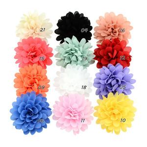 12pcs 12 colori a tinta unita Tessuti a fiori con Hairclip Per Ragazze fai da te copricapo floreale forcine bambini Accessori per capelli HD729