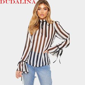 Dudalina donne sexy mezza dolcevita flare manica top a righe prospettiva in chiffon allentato camicia donna strisce bianche e nere camicia