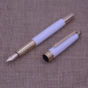 ترف القلم مونتيل كلاسيك الحجم الأبيض مع الذهبي تريم بلانس قلم حبر مع عدد على مقطع شحن مجاني