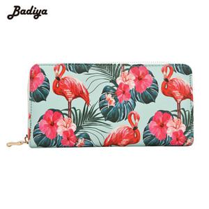 Badiya 여성 플라밍고 꽃 인쇄 패션 롱 지갑 대용량 클러치 전화 가방 PU 가죽 숙녀 카드 홀더 지갑