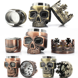 New King Skull Shape Grinder Metal Tobacco Grinder Smoking Herb 3 Capas Ghost Head Grinders 2 colores WX9-908