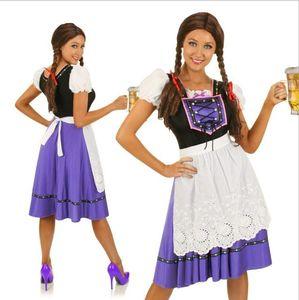 Purple Lady Oktoberfest Fancy Dress Adult Classical Dirndl German Bavarian Beer Maid Girl Cosplay Halloween Wench Women Costumes sexy