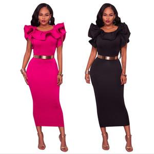 Womens corsage travail bureau robes d'été cou à volants ceinturé Bow fermeture à glissière avant bleu rouge noir ajusté robe courte robe crayon FS5539