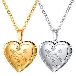 Aries Pattern Lockets القلائد 18K الذهب / البلاتين مطلي مجوهرات هدايا العشاق المعلقات القلب