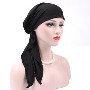 Muslimische Frauen kräuseln Kopftuch Chemo-Baumwollhut-Turban-Kopf-Schal Pre-Gebunden Kopfbedeckung Bandana Tichel für Krebs Haarausfall Zubehör