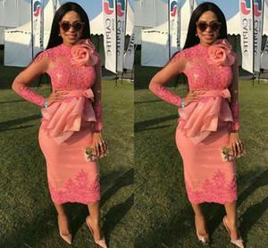 2020 Appliqued Afrique du Sud Dentelle Robe de soirée manches longues Robes de soirée thé longueur gaine courte mère de la robe de mariée Custom Made