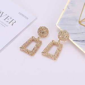 Большие винтажные серьги для женских модных ювелирных изделий Trend Gold Color Geometric Searing