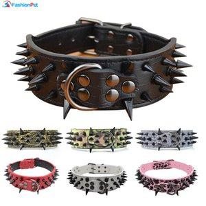 "High Quality 2 ""Width Pu Leather Big Dog Collar with Black Sharp Spikes Studded for Large Dog Pet Pitbull Mastiff"