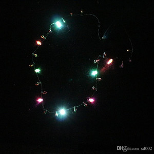 Marée Luminous Colliers Pour Noël Décoration De Fête De Halloween LED Light Up Collier Pratique Clignotant Perlé Lumières Pendentif 3 8za B