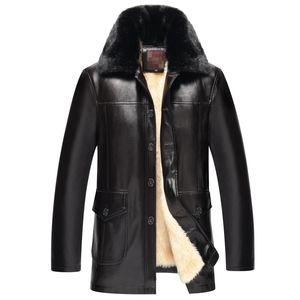 2017 New Winter Men's PU Leather Jackets Button Collar Warm Leather Coat Men Inner Faux Coat Men