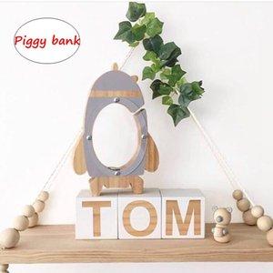 INS de dibujos animados Rocket Piggy bank Home Room decoración de maíz juguetes gris negro juguete niños modelo artesanía regalo