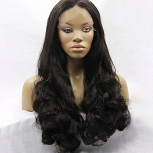 Wholesale Price Synthetic Lace Front Wig Long Black Body Wave Hair Synthetic Hair Wigs for Black Women