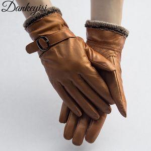 DANKEYISI cuoio genuino guanti EleWomen agnello Genuine Leather Gloves Men Autunno Inverno termica d'avanguardia calde Femminile Guanto