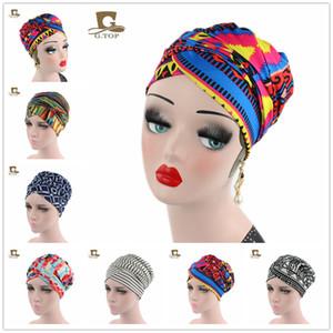 Diseño africano de las mujeres Pañuelo en la cabeza Pañuelo de cabeza largo Jewish Headcover Turban chal Warp Hair Ladies Señoras African Headwrap Bohemia Musulmán Sombrero de cabeza