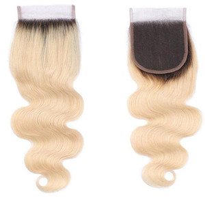 Platinum Blonde Ombre 1b / 613 Body Wave Cierre de encaje con pelo de bebé Nudos blanqueados Remy Cabello humano 4x4 Cierres de encaje