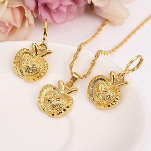 New Christmas Yellow Fine gold Filled big apple Bridal Jewelry Set Rabbit ear pendant Earrings kids Wedding Jewelry gift