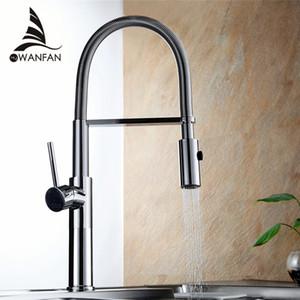 Kitchen Faucet Newly Design 360 Swivel Latón macizo Single Handle Grifo para lavabo Grifo Chrome Agua fría y caliente Torneira LD-10127