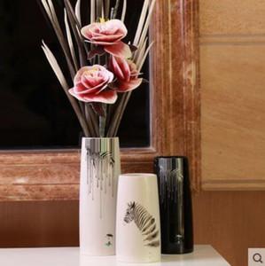 الأبيض السيراميك زيبرا الإبداعية موجزة مجردة زهرة زهرية وعاء ديكور المنزل الحرفية غرفة الديكور الحرف الخزف تمثال