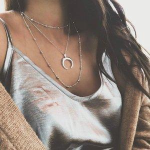RONGBIN 2018 Yeni Moda 3 Katmanlar Zincir Kolye Boynuz Kolye Crescent Moon Kolye Boho Takı Minimal Kız Arkadaşı Hediye
