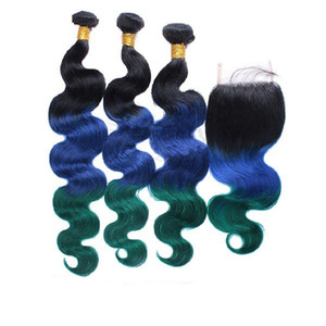 Human Hair Weft 1b Blue Green Hair Bundles With Lace Closure Body Wave Dark Root Hair Bundles 3Pcs With Lace Closure 4x4