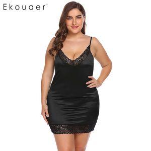 Ekouaer Artı Boyutu Gece Elbise Lingerie Gecelik Kadınlar Ayarlanabilir Spagetti Sapanlar Dantel V Yaka Gecelik Kadın Sleepshirt 5XL S923