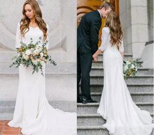 Vintage bescheidene Brautkleider mit 3/4 Ärmeln V-Ausschnitt Böhmische Spitze Meerjungfrau Brautkleider 2018 Land Hochzeitskleid Strand Hochzeitskleid