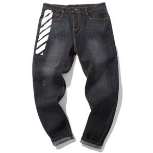 2018 Fashion New Men's Casual Boutique Large Size Jeans   Men's Personality Geometric Print Denim Trousers