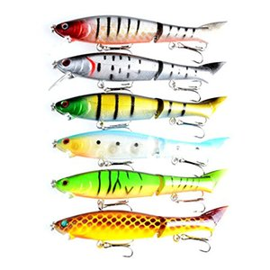 """LENPABY 6pcs Multi Jointed Minnow Hard fishing lures Swimbaits Section Bass Trout Saltwater fishing baits pesca fishing tackles 12cm 4.72"""""""