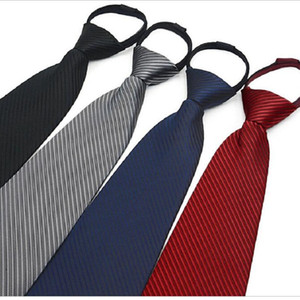 9cm Reißverschlussriegel Herren-Geschäftskrawatte Reißverschluss Polyester Hals binden schwarz, rot, blau ascot Hochzeit Team Sicherheit Männer 4S-Shop 2pcs / lot