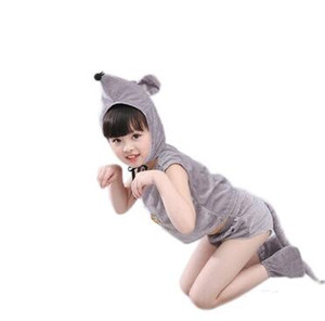 2018 novas crianças estilo Cosplay mouse Animais executar meninos Vestuário e meninas roupas de dança siameses