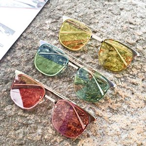 2018 Euro Stylish Candy Color Sunglasses With POP Half Transparent Lens Oversize Metal Frame Mens Women Fashion Sun Glasses With Box Summer