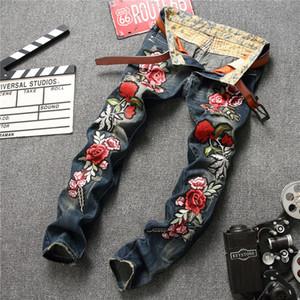 Mode Hommes Jeans De Luxe De Style Européen Et Américain Coton Mélange Longue Droite Couleur NO.1 8 Taille Broderie Zipper Fly