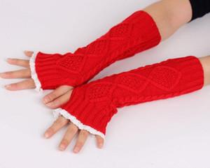 Кружеваные женские перчатки вязаные руки Утеплители женские Женские вязаные перчатки для без пальцев вязаные перчатки на запястье зимние дамы длинные теплы руки без пальцев перчатки 7 цветов