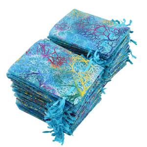 100pcs Blue Coral Organza Bags 9x12cm Sacchetto piccolo regalo di nozze Carino Candy sacchetti di imballaggio di gioielli Coulisse Pouch