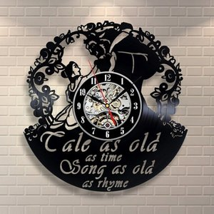 Wall Art Home Decor Vinyl Record Clock (Tamaño: 12 pulgadas Color: Negro)