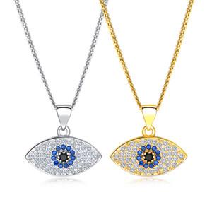 محظوظ الشر العين قلادة قلادة 18K الذهب مطلي النحاس / النحاس البلاتين الزركون مجوهرات التركية عيون زرقاء تركيا سحر سلسلة القلائد