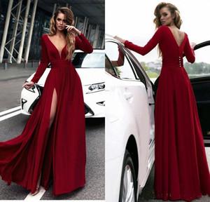 Elegante Rouge Longue Robes De Soirée À Manches Longues V Cou En Mousseline De Soie Étage Longueur Dos Nu Robes De Soirée Formelle Femmes Occasion Spéciale Robes De Fête