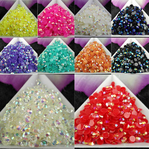 5000 unids / bolsa SS16 4mm 10 Color Jelly AB Resina Crystal Rhinestones FlatBack Super Glitter Nail Art Strass Boda Decoración Bolas No HotFix