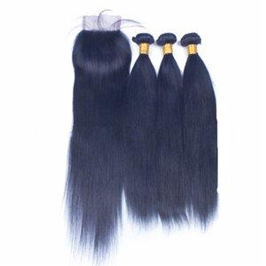 Feixes de cabelo em linha reta azul com lace closure extensões de cabelo humano virgem azul com 4x4 lace closure azul 3 ofertas bundle com lace closure