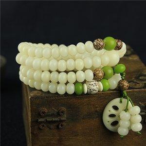 Natural White Jade Bodhi raiz pulseira Homens Mulheres Beads O Bodhi Filho 108 Uma Mão string original DIY mão Decore