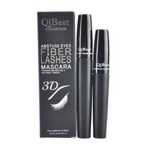 Qibest mascara 3D FIBER LASHES MASCARA Curling Lengthening Black Mascara Makeup Long Lasting Waterproof Natural Eye Lash Cosmetics 2pcs lot