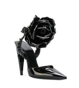 섹시한 하이힐 샌들 세련된 블랙 플라워 여성 펌프 Evening Party Dress Shoes Night Clubwear 샌들 2018 세련된 스틸레토 힐즈