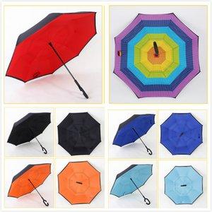 Doppio strato di colore solido Ombrello invertito Protezione UV antivento Ombrello inverso Big C-Gancio Maniglia Ombrelloni ombrelloni Soleggiato M069