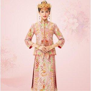 Hiqh качество дракон феникс китайская невеста Cheongsam Гуандун Кантон Юэ вышивка мода платье партии Vestidos Китай Традиционная свадьба