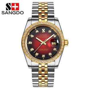 Sangdo montre des hommes d'or lumineux en acier inoxydable automatique d'or mécanique calendrier montre étanche relogio masculine