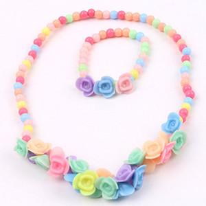 Kinder Mädchen Bunte Schöne Prinzessin Perlen Blumen Halskette Armband 2 IN 1 Schmuck Set Faddish Geschenk