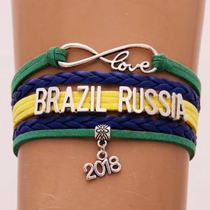 The World Cup Gifts Infinity Love BRASILE RUSSIA Bracciale 2018 Calcio Charm Pelle avvolgente Sport Bracciali Bangles