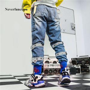 Neverfunction Erkekler Vintage Gevşek çok cepli düz Jeans Yüksek kaliteli katı Erkek Hip hop Yüksek sokak Pamuk Denim Pantolon